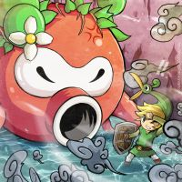 Link VS Big Octorok by Blopa1987