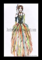 Colored Feather-Dress by JustMeOnyX