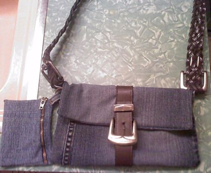Denim and Leather Purse by Butterflygirl113