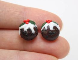 Christmas pudding post earrings by DragonsDust