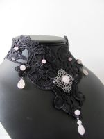 Rose's tears, black lace and pink quartz beads by yinco