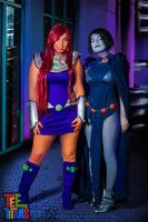 Starfire And Raven :: Titans Tower by zanacosplay