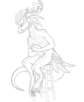 Anthro Dragon lineart by o0AquaDragon0o