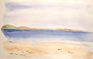 watercolor beach by Gh0st-0f-Me