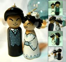 Blue Wedding Kokeshi by thedustyphoenix