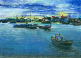 Tinh Gia Harbour at Dawn by aliceshadowknight