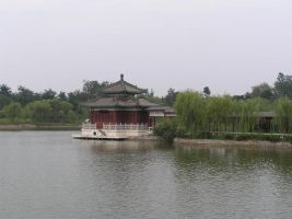 willow trees and pagoda 1.2 by meihua-stock
