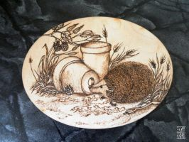 Hedgehog - woodburning by HiranoKarasu