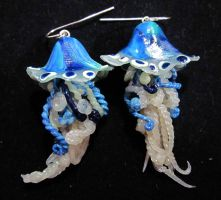 wild blue jelly fish earrings by carmendee