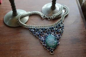 Blue Gem Guinevere Chainmaille by medievalfaery