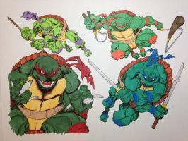 Teenage Mutant Ninja Turtles colored by SSGJoey