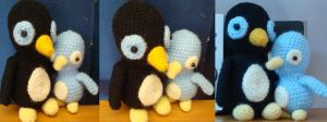Crochet father + baby penguin by Morethantoday