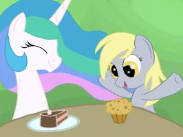 Request: Derpy and Celestia by Grennadder
