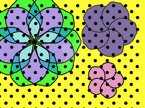 Geometric Polka dot Flowers by Izzybizzy29