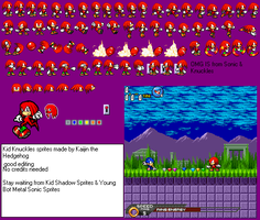 Young Knuckles sprites by kaijinthehedgehog