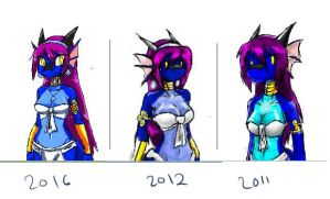 Shira Iscribble doodles - Then and Now by KattSpace