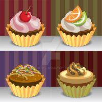 Vector Illustration Cupcakes by phyllis-L