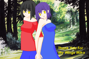 Mika and Kotomi in the woods by angelofcryinghearts