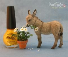 Miniature Burro sculpture by Pajutee