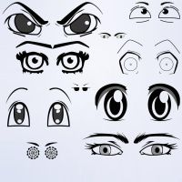 Anime Eyes Photoshop Brushes 1 by alextelford