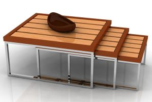 Wooden table and bowl by kratzdistel