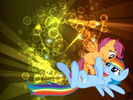 Scootaloo and Rainbow Dash Desktop by ScooterLights