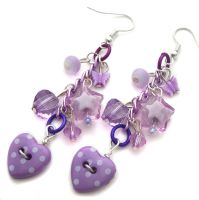 Purple Heart Earrings by fairy-cakes