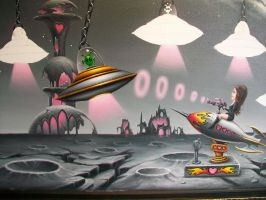 Chris painting, Johann Versus The Aliens DETAIL by ChristopherPollari