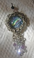 Dichroic Glass Maille Pendant by Zehful