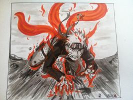 Naruto going beast by Steve-in-the-Ink