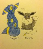 Sapphire and Escura by TheNeonUmbreon