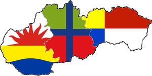 Flag map of Slovakia (3 regions) by hosmich