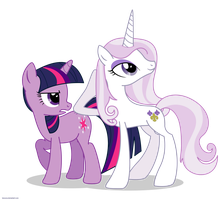 Fleur the posing pony and Twilight Sparkle - PNG by Larsurus
