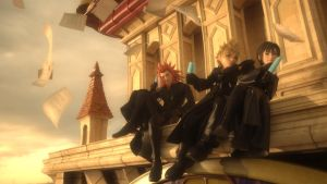 Axel, Roxas and Xion on the Clock Tower by MultiShadowYoshi
