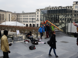 Musician at Mont des Arts by Atlantagirl