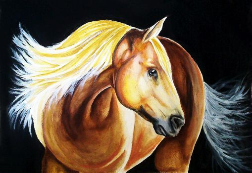 Blondie - Horse Acrylic Painting by desiangel1