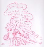 Fluttershy and Applejack by Saphin