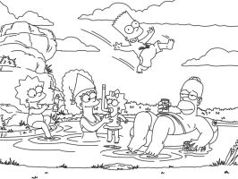 simpsons line art by tash360