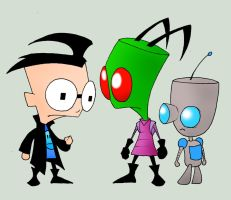 Zim, Gir, and Dib by kilroyart