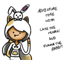 cake the human and fionna the rabbit by Xcoqui
