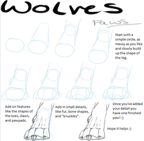How to draw wolves: Paws by XxMaz-AlmightyxX
