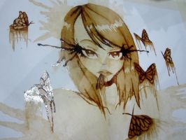 Coffee Painting: Melting Butterflies by decastromatthew