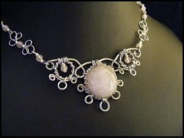Rose Quarts Cab Wire Necklace by BacktoEarthCreations