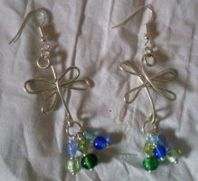 blue and green wigjig earrings by MadDani