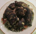 Garlic Lamb-Pork Meatballs over Rice and Veggies by Windthin
