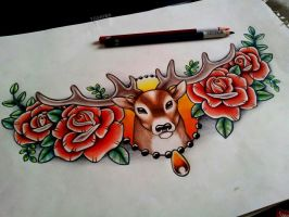Stag Chest Piece by kirstynoelledavies