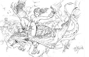 RED sonja fights by Jimbrothers