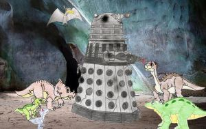 Land Before time gang and a dalek by Animedalek1