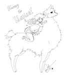 AWESOME LLAMA LINE ART by Squidbiscuit