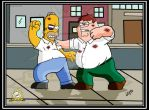 Homer Vs. Peter Dream Fight by AngelCrusher